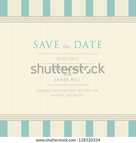 Save the Date with vintage background artwork. Ornate damask background - stock vector