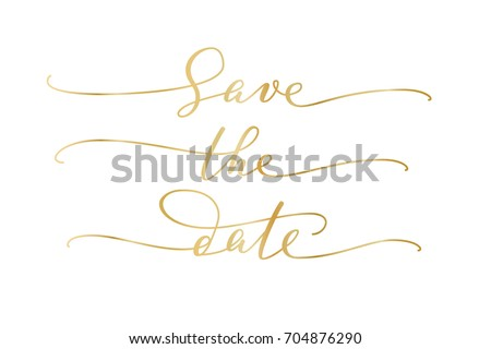 save the date words hand written custom calligraphy isolated on white elegant ornate lettering