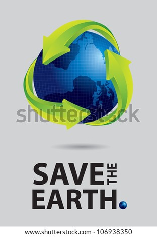 Save the earth canvas, world and recycle sign on gray background - stock vector