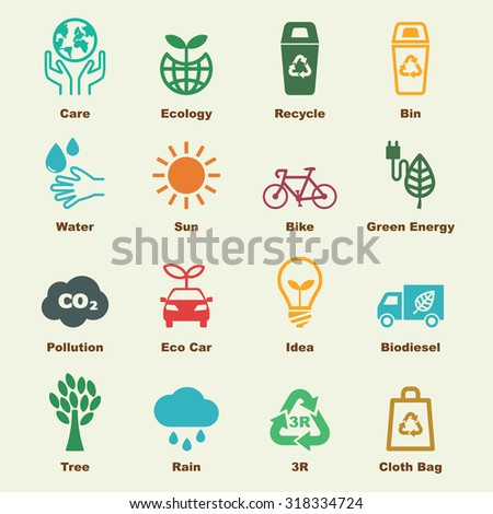 save the earth elements, vector infographic icons - stock vector