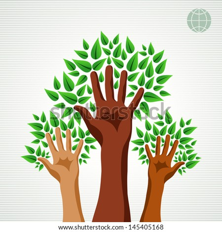 Save the Earth tree idea with hands background. This illustration is layered for easy manipulation and custom coloring - stock vector
