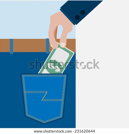 Save the money in pocket. - stock vector