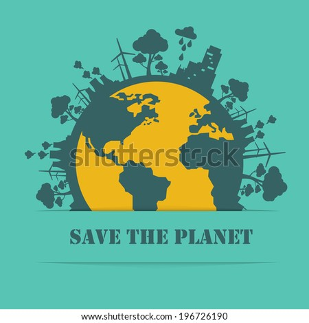 Save the planet on a blue background