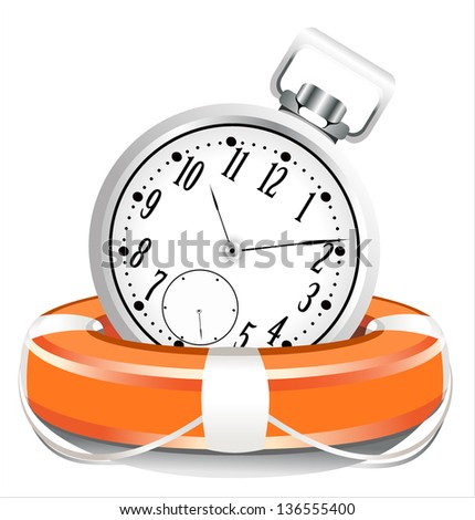 Save the time concept. StopWatch with Life Buoy on a white background - stock vector