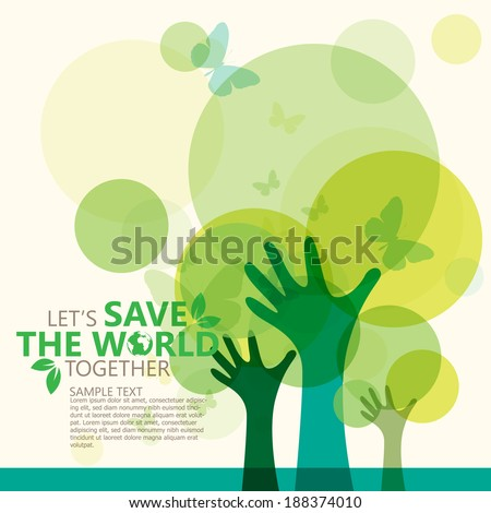 save the world - stock vector