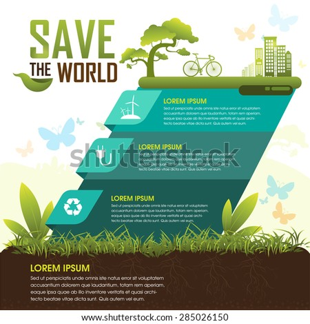 Save the World and Go Green Concept - stock vector