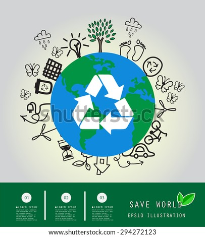 Save the World and Go Green Concept , Vector Illustration