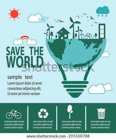 Save the World Concept , Ecology idea green bulb, Green City, environment, ecology infographic - stock vector