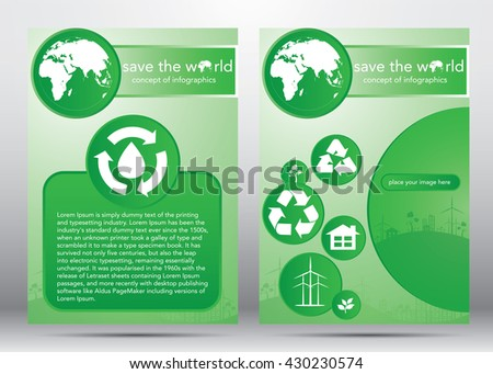 save the world, design template vector abstract background, layout in size A4