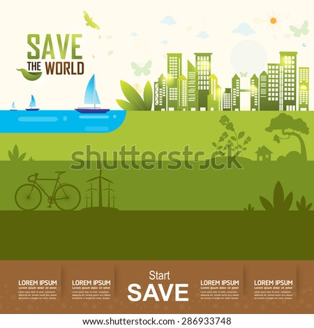 Save the World Eco Tree Concept - stock vector