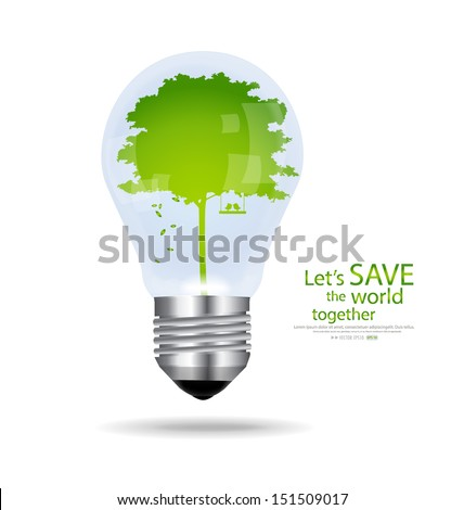 Save the world, Light bulb with tree inside. Vector illustration.