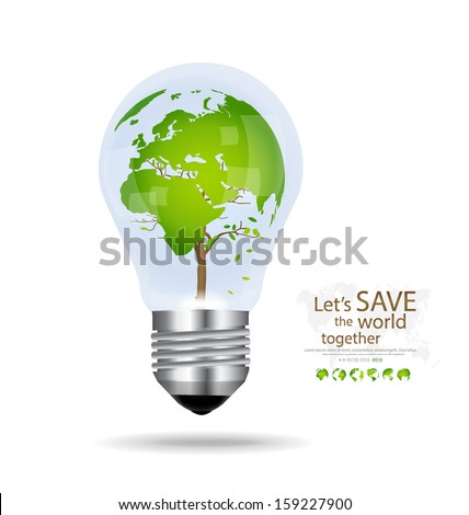 Save the world, Light bulb with tree shaped world map inside. Vector illustration.