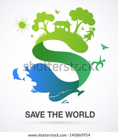 Save the world - nature and ecology background with S letter - stock vector