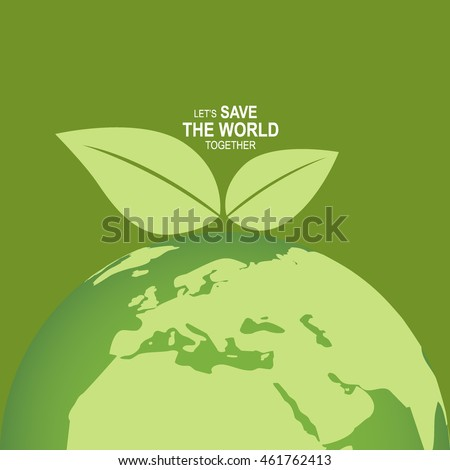 Save the world poster design template. Vector illustration