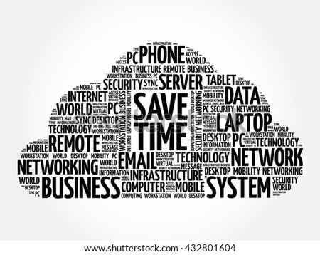Save Time word cloud concept - stock vector