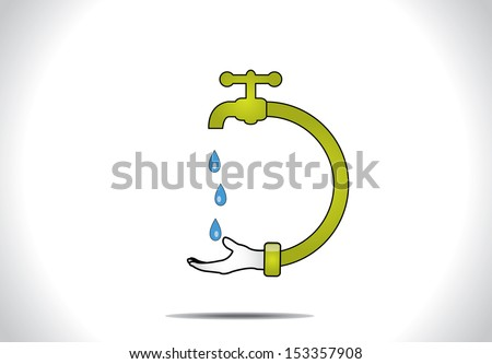 Save water concept design vector illustration art : A human hand holding hand to save blue water droplets falling from a green tap or faucet connected to the hand - stock vector