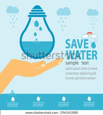 Save water concept, Ecology Save The Water, Water conservation concept. Vector illustration - stock vector
