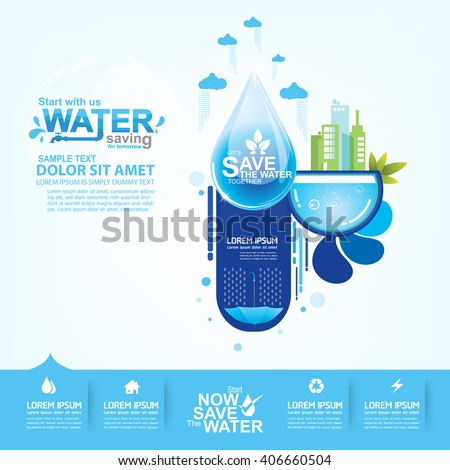 Illustration with tips on saving water consumption by man in a house - Save Water Stock Images Royalty Free Images Amp Vectors