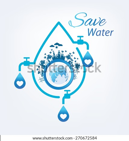Save water concept. Vector illustration. - stock vector