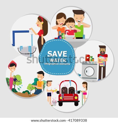 Save Water Infographics , Eco Concept. Vector Illustration - stock vector