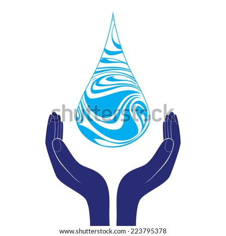 Save water sign icon. Hand holds water drop symbol. Environmental protection symbol. Thin line circle web icons with outline. Vector  - stock vector