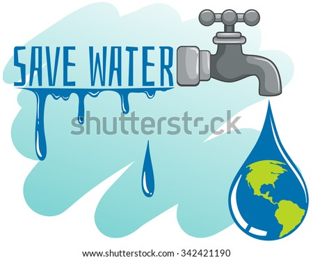 Save water theme with earth and faucet illustration - stock vector