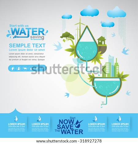 Save Water Vector Concept Saving  For Tomorrow