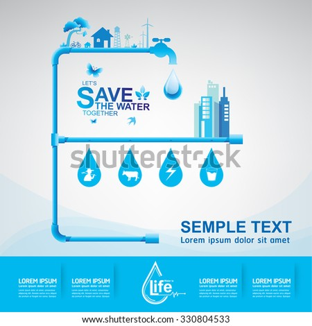 Save Water Vector Ecology Concept