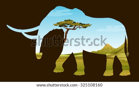Save wildlife with elephant and field illustration