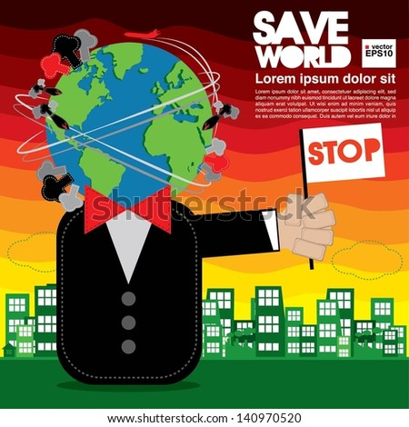 Save World Conceptual Illustration Vector.EPS10 - stock vector
