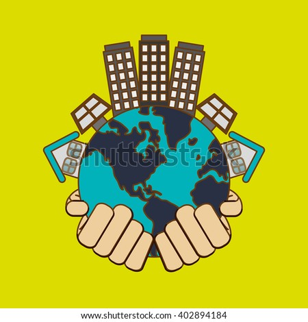 Save world design, vector illustration - stock vector