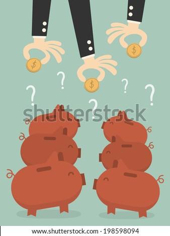 Saving, businessman's hands putting a coin into piggy bank. - stock vector