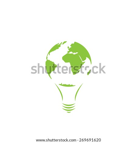 Saving energy icon, green lamp, world map, eco concept, vector illustration - stock vector