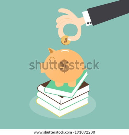 Saving for Education - Piggy Bank over Stack of Books - stock vector