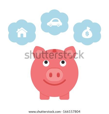 Saving for the future, piggy bank - stock vector