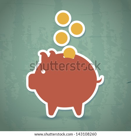 saving icon over vintage background vector illustration - stock vector