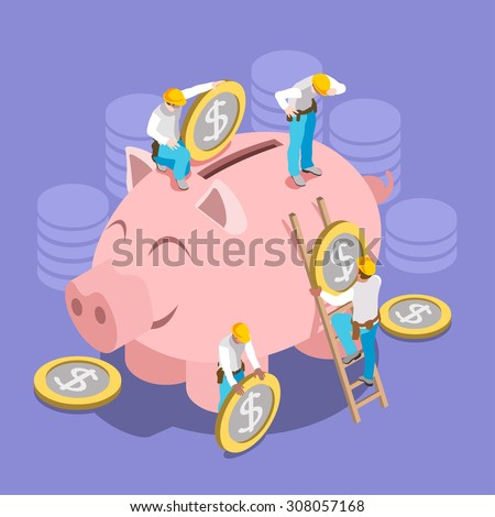 Saving Money Concept. Interacting People Unique IsometricRealistic Poses. NEW lively palette 3D Flat Vector Illustration Hard Hat Mini People Set Put in Coins to Piggy Bank - stock vector
