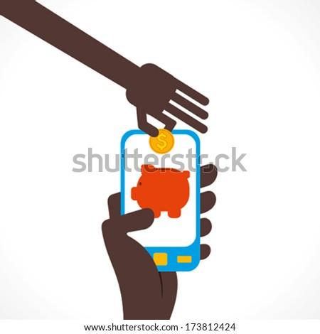 saving money concept using internet technology through mobile concept vector - stock vector