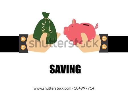 Saving money design over white background, vector illustration - stock vector