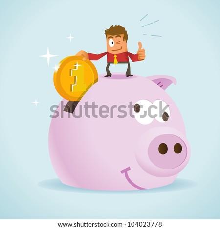 Saving Money for Future. Vector illustration - stock vector