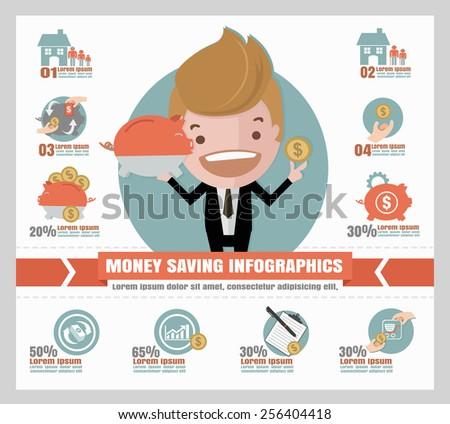 saving money info graphics. - stock vector
