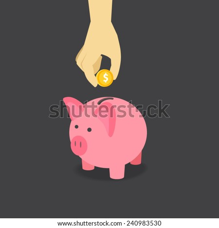 Saving Money with Pink Piggy. Vector illustration EPS10. - stock vector