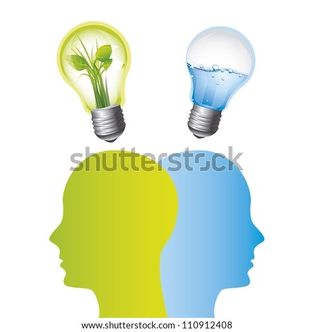 saving the planet with bulb and silhouette men. vector illustration - stock vector