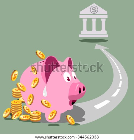 Savings and investment concept with a pink piggy bank or money-box making for a bank account.  - stock vector