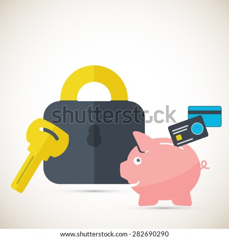Savings concept with piggy bank and lock. Safe savings. EPS10 vector - stock vector