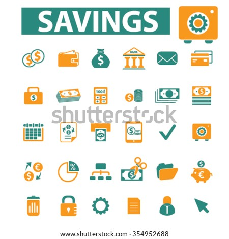 savings, personal finance  icons, signs vector concept set for infographics, mobile, website, application  - stock vector