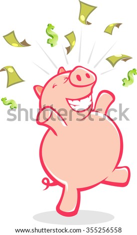 Savings Success-Conceptual illustration of a piggy bank in celebration of being rich. - stock vector