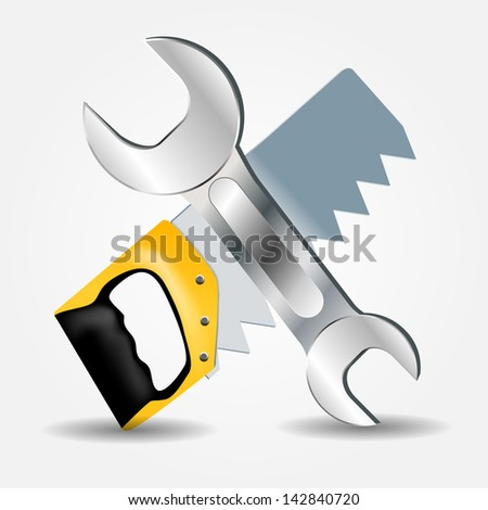 Saw and Wrench icon vector illustration - stock vector