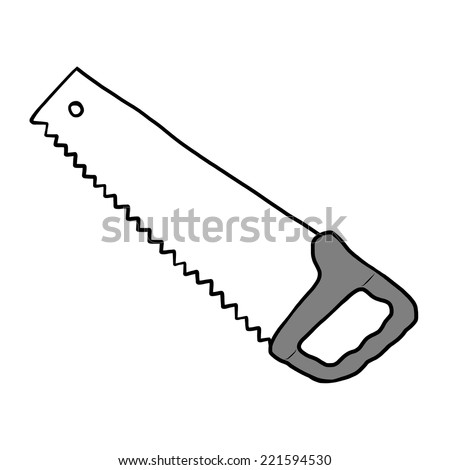 saw / cartoon vector and illustration, grayscale, hand drawn style, isolated on white background. - stock vector