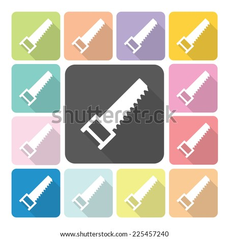 Saw Icon color set vector illustration. - stock vector